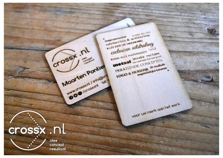 Houten Kaartjes Crossx 2 Exclusief visitekaartje B